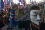 Thai anti-government protesters on the streets of Bangkok. Photo by AFP.