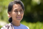 Daw Aung San Suu Kyi during her historic first visit to Australia. Photo by Greg Wood/AFP.