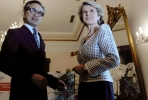Australian foreign minister Julie Bishop and her Indonesian counterpart Dr Marty Natalegawa. Photo by AFP.