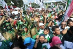 PKB supporters at a campaign rally. Photo by AFP.