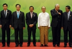 No longer the odd man out. Myanmar President Thein Sein (third from right) with Southeast Asian leaders at the 24th ASEAN summit. Photo by AFP.
