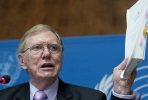 Michael Kirby delivers the UN's report on human rights abuses in North Korea. Photo by AFP.