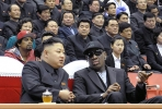 North Korean leader Kim Jong-un and former NMA star Dennis Rodman. Photo by AFP.