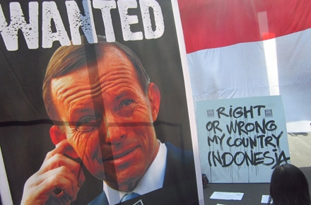 An Indonesian poster protesting Tony Abbott over spying allegations. Photo by AFP.