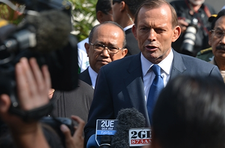 Prime minister Tony Abbott in Bali before attending the 2013 APEC meeting. Photo by AFP.